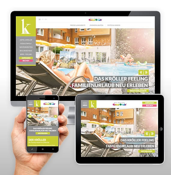 Il Family Hotel Kröller: sito web responsive & ReGuest